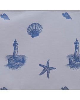 Hochwertiger Dekoschal Rügen blau mit Reihband Stoffmuster