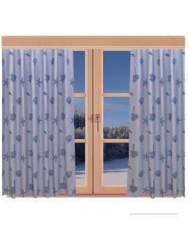 Hochwertiger Dekoschal Rügen blau mit Reihband am Fenster Winter