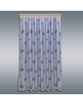 Hochwertiger Dekoschal Rügen blau mit Reihband ungerafft