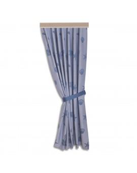 Hochwertiger Dekoschal Rügen blau mit Reihband gerafft