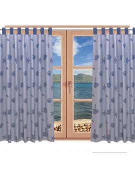Hochwertiger Dekoschal Rügen blau mit Schlaufen am Fenster