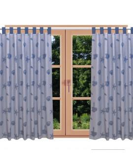 Hochwertiger Dekoschal Rügen blau mit Schlaufen am Fenster im Sommer