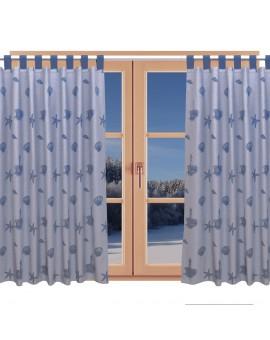 Hochwertiger Dekoschal Rügen blau mit Schlaufen am Fenster im Winter