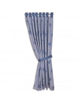 Hochwertiger Dekoschal Rügen blau mit Schlaufen gerafft