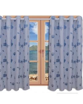 Hochwertiger Dekoschal Rügen blau mit Chrom-Ösen am Fenster
