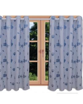 Hochwertiger Dekoschal Rügen blau mit Chrom-Ösen am Fenster im Sommer