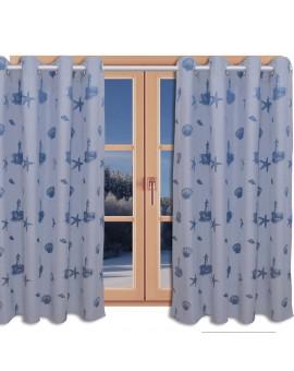 Hochwertiger Dekoschal Rügen blau mit Chrom-Ösen am Fenster im Winter