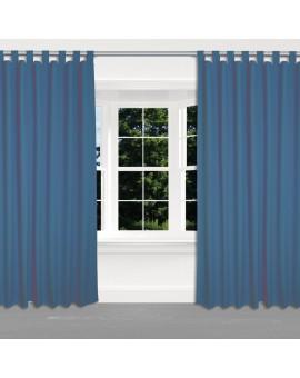 Schlaufen-Dekoschal Husum unifarben blau hochwertige Webware 2 Stück am Fenster