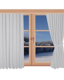 Schlaufen-Dekoschal Husum unifarben hellgrau hochwertige Webware an einem Winterfenster