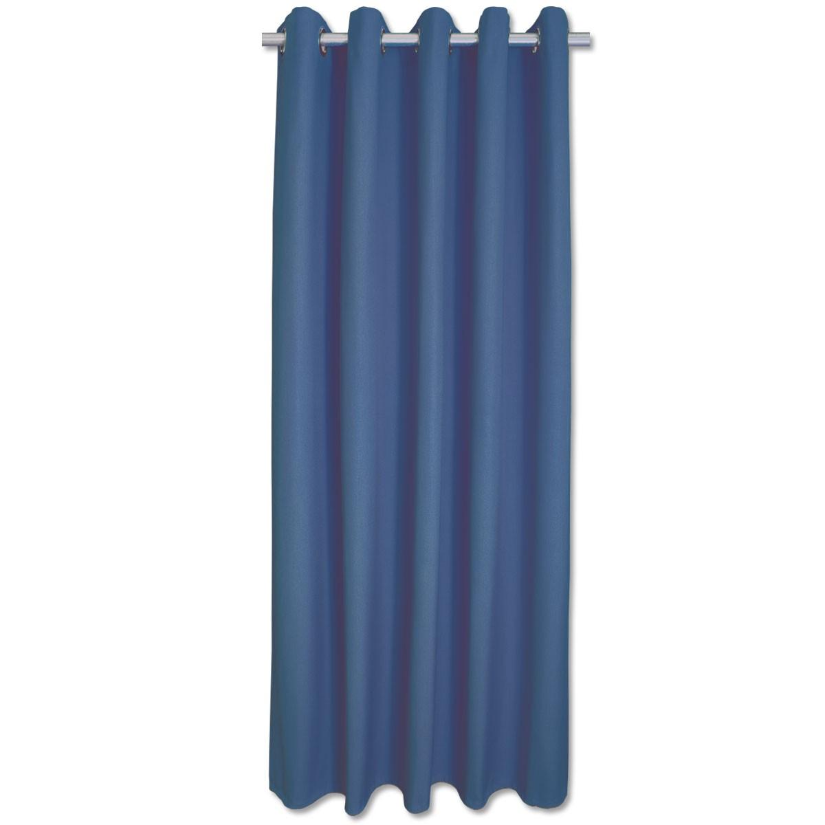 Hochwertiger Ösenschal Husum blau unifarben Chromösen
