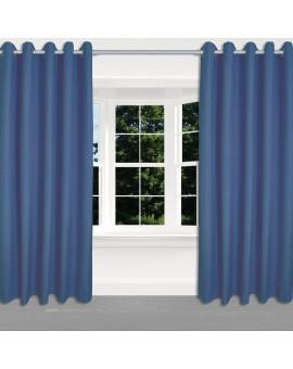 Hochwertiger Ösenschal Husum blau unifarben Chromösen 2 Stück am Fenster