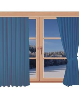 Hochwertiger Ösenschal Husum blau unifarben Chromösen an einem Winterfenster