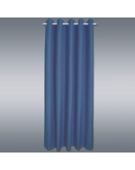 Hochwertiger Ösenschal Husum blau unifarben Chromösen vor grauem Hintergrund
