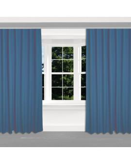 Hochwertiger Dekoschal Seaside uni blau mit Reihband 2 Stück am Fenster