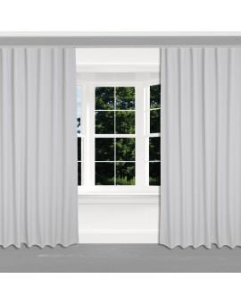 Hochwertiger Dekoschal Seaside uni grau mit Reihband 2 Stück am Fenster