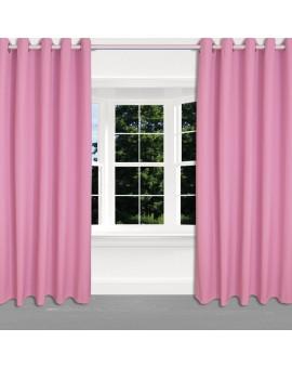 Kinder-Dekoschal Blubb-Kids Rosé Pink mit Chrom-Ösen 2 Stück am Fenster
