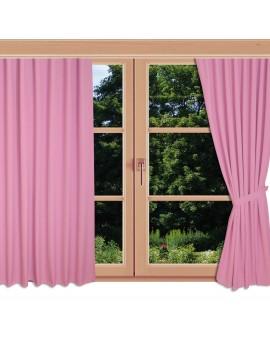 Kinder-Dekoschal Blubb-Kids Rosé Pink mit Chrom-Ösen an einem Sommerfenster