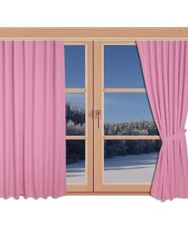 Kinder-Dekoschal Blubb-Kids Rosé Pink mit Chrom-Ösen an einem Winterfenster