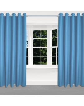 Kinder-Dekoschal Blubb-Kids Hellblau mit Chrom-Ösen 2 Stück an einem Fenster