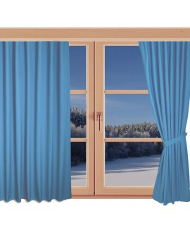 Kinder-Dekoschal Blubb-Kids Hellblau mit Chrom-Ösen an einem Winterfenster