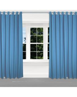 Kinder-Gardine Blubb-Kids Hellblau Schlaufenschal 2 Stück an einem Fenster