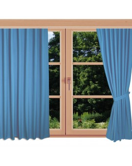 Kinder-Gardine Blubb-Kids Hellblau Schlaufenschal an einem Sommerfenster