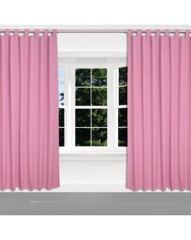 Kinder-Gardine Blubb-Kids Rosa Pink Schlaufenschal 2 Stück an einem Fenster