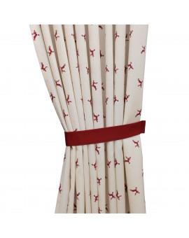 Raffhalter rot uni passend zu Dekoschal-Serie Knut mit gemustertem Dekoschal