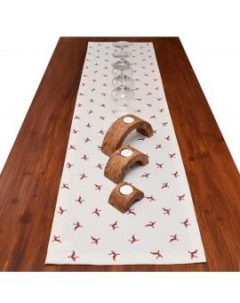 Tischläufer Knut rot mit Hirsch dekoriert