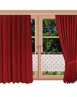 Scheibenhänger Querbehang Knut in Rot mit Schlaufen dekoriert mit passenden Schals am Fenster