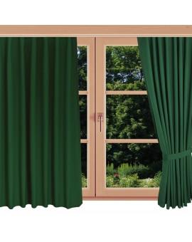 Landhaus-Dekoschal Knut Grün uni mit Chrom-Ösen am Fenster