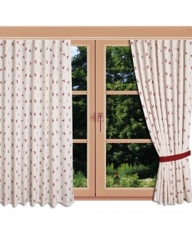 Landhaus-Reihbandschal Knut Rot mit Hirsch am Fenster
