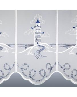 Maritime Scheibengardine Leuchtturm für Bad oder Küche Plauener Stickerei