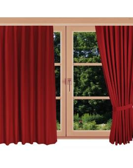 Landhaus-Dekoschal Knut in Rot uni mit Reihband am Fenster