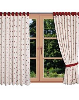 Landhaus-Schlaufenschal Knut Rot mit Hirsch am Fenster