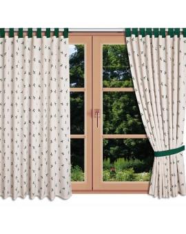 Landhaus-Schlaufenschal Knut Grün mit Hirsch am Fenster