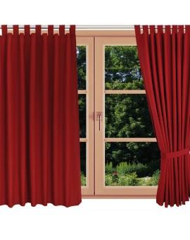 Landhaus-Schlaufenschal Knut Rot uni am Fenster