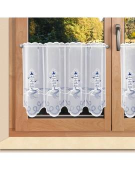 Maritime Scheibengardine Leuchtturm für Bad oder Küche Plauener Stickerei am Fenster