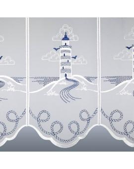 Maritime Scheibengardine Leuchtturm für Bad oder Küche Plauener Stickerei Detailbild