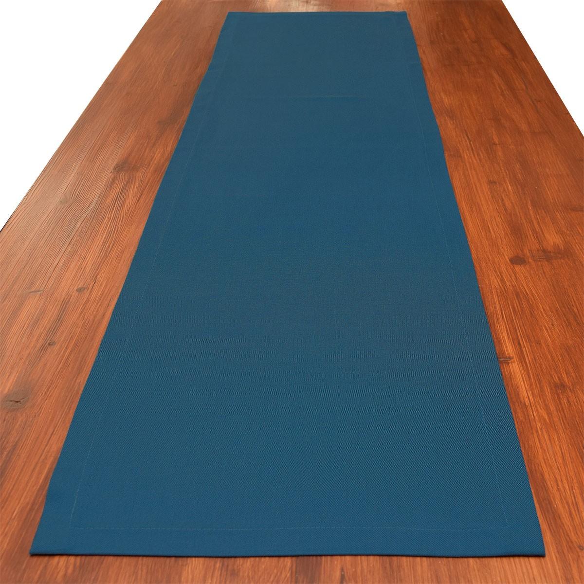 Tischläufer Husum blau uni gedeckt