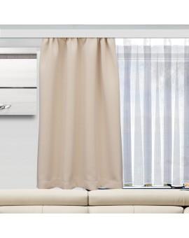 Wohnmobil-Vorhang Mattis hellbeige kombiniert mit Caravan-Store ANNA