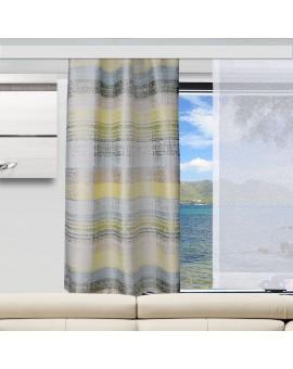 Caravan-Gardine Wohnmobil-Vorhang Liam Grün Gelb mit Flächenvorhang am Fenster