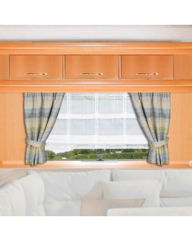 Caravan-Gardine Wohnmobil-Vorhang Liam Grün Gelb Beispielbild mit Raffhaltern