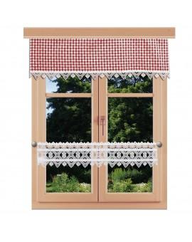 Querbehang Leni rot kariert mit Plauener Spitze am Fenster kombiniert mit Feenhausgardine Leni