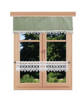Querbehang Leni grün kariert mit Plauener Spitze am Fenster kombiniert mit Feenhausgardine Leni