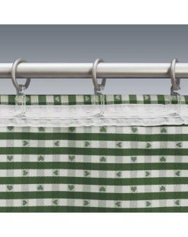 Querbehang Leni grün kariert mit Plauener Spitze Detailbild Reihband