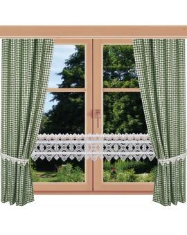 2er Set Dekoschal Leni Grün kariert am Fenster kombiniert mit Feenhausgardine Leni