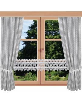 2er Set Dekoschal Leni Grau kariert am Fenster kombiniert mit Feenhausgardine Leni