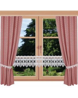 2er Set Dekoschal Leni Rot kariert am Fenster kombiniert mit Feenhausgardine Leni