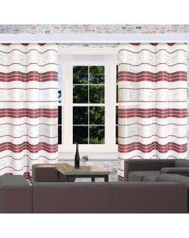 Reihband-Dekoschal Tori mit Streifenmuster bordeaux am Fenster dekoriert